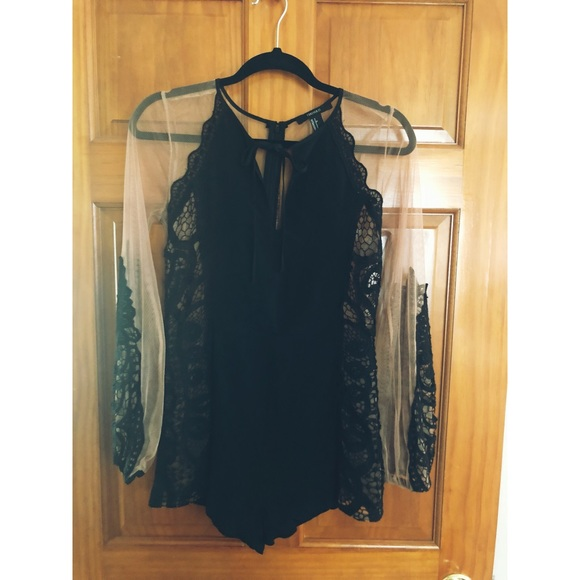 Dresses & Skirts - black and nude mesh sleeve romper with lace detail